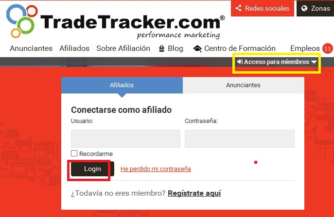 login afiliado tradetracker