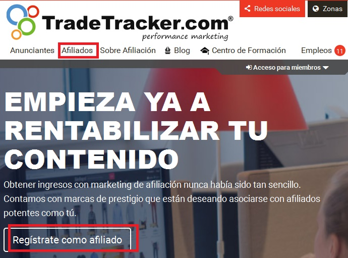 registro afiliado tradetracker