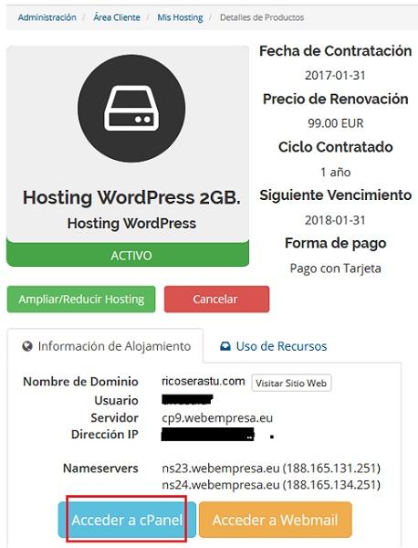 cpanel webempresa