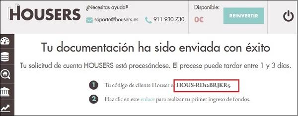 codigo cliente housers
