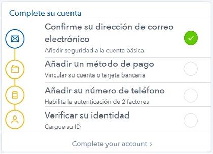 completar cuenta coinbase
