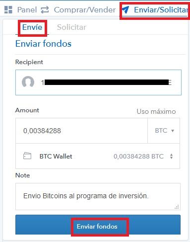 enviar bitcoin coinbase