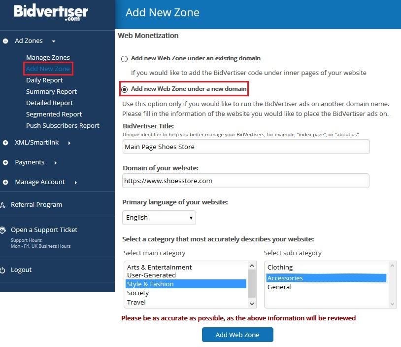 anuncio nueva zona bidvertiser