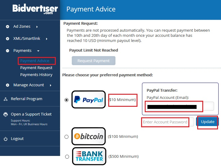 payment advice bidvertiser