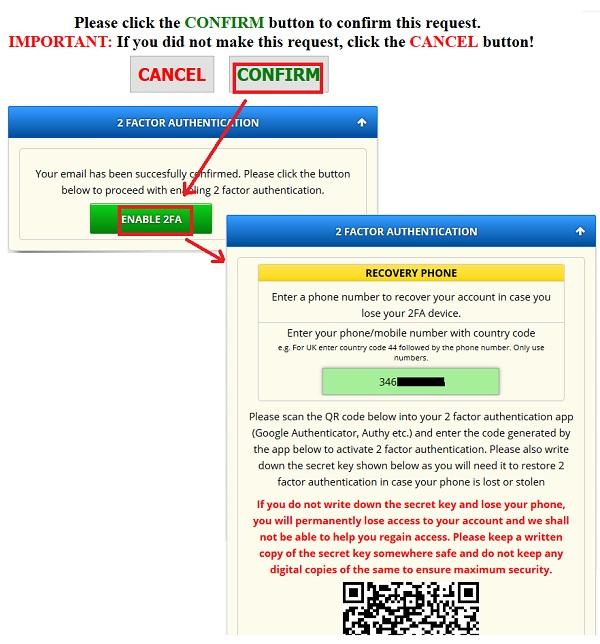 activar 2FA freebitcoin