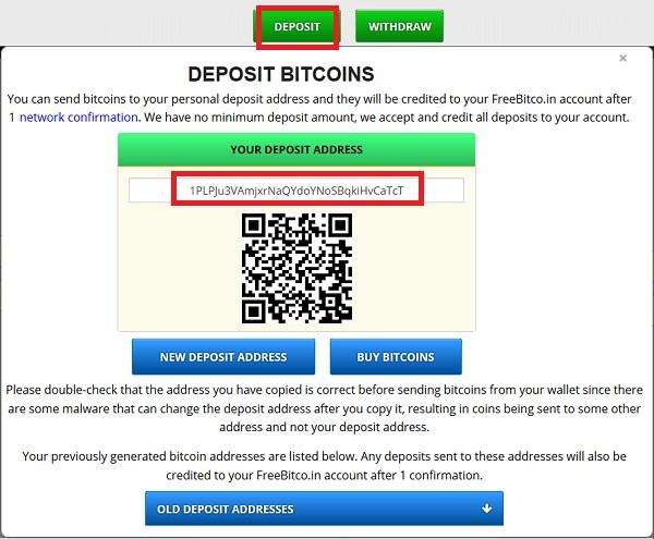 deposit freebitcoin